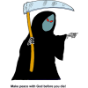 "This is a drawing of the grim reaper holding a sickle and pointing a bony finger. His red eyes complete the image . Below are the words, ""Make peace with God before you die!"""