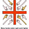 Many Hands Extended Toward Cross - Many hands make Light work lighter
