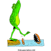 "This is a funny cartoon of a frog walking on his hind legs with his nose in the air, and he is just about to walk into the water where an open mouth alligator is waiting for him! ""Pride goes before a fall!"""