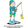 Man with fishing pole with a gospel tract on the hook - All you need to be a good fisherman is patience and good bait