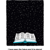 Clip art of open Bible before a starry sky withe the words: I have seen the future and it is eternal