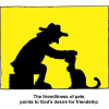 Silhouette of Man Petting Cat - The friendliness of pets points to Gods desire for friendship