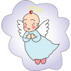 This clip art is of a baby with angel wings, a cherub. The style is vintage and clean.