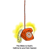 Red Phone With Line Extending Upward - The Bible is Gods hotline to you from heaven