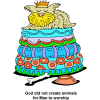 "This is a colorful and cute illustration of a dog wearing a crown and laying on a very fluffy bed bed. Below are the words, ""God did not create animals for Man to worship."""