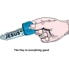 "This is a drawing of a hand holding a key with Jesus' name on it. Below are the words, ""This is the key to everything good."""