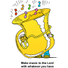 Small person playing large tuba - Make music to the Lord with whatever you have