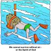 Man Snorkeling - We all need air - or the Spirit of God