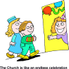 The Church is like an endless celebration | Birthday Clip Art