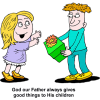 This is a cartoon style image of a boy giving a wrapped gift to a girl.