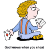 This is a cartoon style image of a person hiding cards behind his back. There is nothing you can hide from God behind your back from Him.