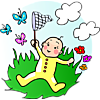 This is a classic style image of a baby sitting in the grass with a butterfly net and butterflies fluttering around the net. This cartoon style image captures what we dream about when we think of children enjoying the beauty of being outside.