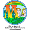 "This is a clip art of the letter ""M"" with the words, ""M is for Mankind. God created the first humans, male and female."" It's colorful with a drawing of Adam and Eve within its circle. This image is in the series of the Bible Alphabet."