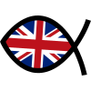 Christian fish painted with British flag
