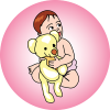 This is a graphic of a baby with a teddy bear. Great use for baby showers! It has a vintage look.