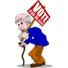 Old man holding campaign sign