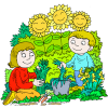 Mother and Son in a Happy Gardening Picture