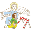 This image is of an angel pointing a girl away from danger. We may not see them, but they are all around us.