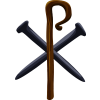 This is an image of the Chri Rho made of spikes and shepherd staff. The Chi Rho (/ˈkaɪ ˈroʊ/) is one of the earliest forms of christogram.