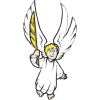 This is a cartoon image of an angel holding up a quill.