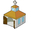 This is a graphic of a small box-like church.