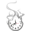 A clock dissolving into smoke