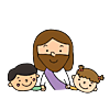 illustration of Jesus with two children