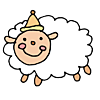Happy Sheep wearing a party hat