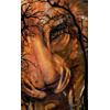lion face background with tree foreground