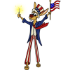 This is a funny image of a rabbit with really long legs in Uncle Sam garb.