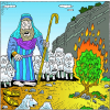 Moses looked and behold the bush was burning with fire but was not consumed | Exodus Clip Art
