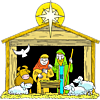 A Star Over a Manger with Mary Joseph Baby Jesus and Animals | Christmas Clip Art
