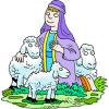 Kneeling Shepherd in Purple Robe With His Sheep  | Shepherd Clip Art