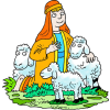 Kneeling Shepherd White Three Sheep | Shepherd Clip Art