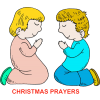 Two children kneeling with words: Christmas prayers