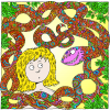 A colorful Snake Smiling at Eve | Garden of Eden Clip Art