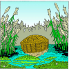 She took for him an ark of bulrushes and laid it in the reeds by the rivers bank | Exodus Clip Art