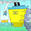 Jumping off an Ocean liner unto a small boat label Jesus | 1 Corinthians Clip Art