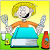 Man With Fork and Knife Licking his Chops While Looking at a Bible | Luke Clip Art