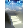 This is a photoshop image of stairway leading up to a cross in the midst of clouds. On the stairway is light flooding on to the stairs in the shape of an open door.