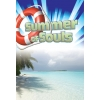This is a summer evangelism bulletin. It has a colorful view of the ocean and a palm tree with Summer of Souls written across the top with a life preserver next to it.