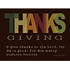 The work 'THANKS' emphasized in Thanksgiving
