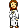This is an illustration of Jesus in a white robe. The style is friendly, great for kids.