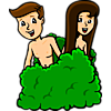 This is image is of Adam and Eve positioned behind a bush, pre-fall, still smiling.