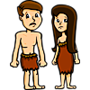 This is an image of Adam and Eve after the fall. Sad, distraught faces and animal skin clothing for both of them.