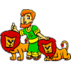 This is an illustration of Daniel and the lions. The style is very juvenile and friendly.