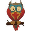 This is a graphic of a green, blue and red owl with a cross on his chest. He's a cute little guy with a somewhat silly look on his face.