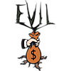 "This is a graphic of a man's hand holding a bag of money with a plant coming out of the top and a root coming out of the bottom. ""Evil"" is written over the top of the image."