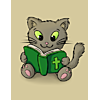 This is an adorable image of a drawing of a kitten reading the Bible!