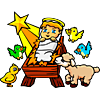 Baby Jesus with birds and lamb